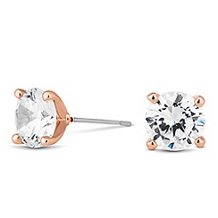 Jon Richard - Rose gold round cubic zirconia stud earring