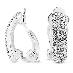 Jon Richard - Silver crystal pave clip on earring