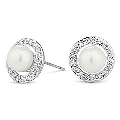 Jon Richard - Pearl and crystal surround disc earring