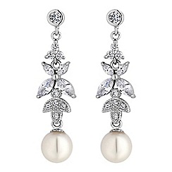 Jon Richard - Silver crystal leaf and pearl drop earrings.