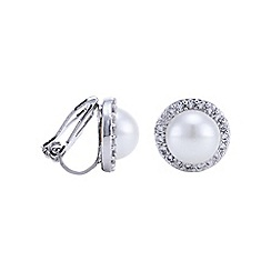 Jon Richard - Silver pave pearl clip on earring
