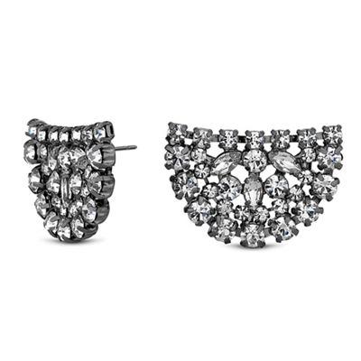 jon richard crystal cluster half circle earrings