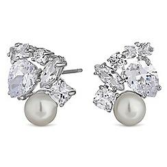 Jon Richard - Cubic zirconia pearl cluster stud earrings