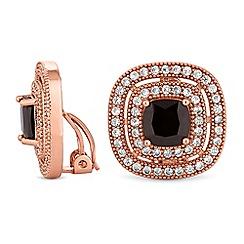 Jon Richard - Jet crystal surround clip on earrings