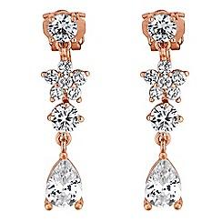 Jon Richard - Rose gold floral drop earrings