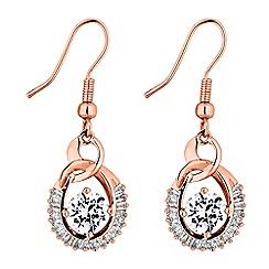 Jon Richard - Rose gold cubic zirconia loop drop earrings