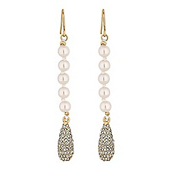 Jon Richard - Pave peardrop and pearl drop earrings