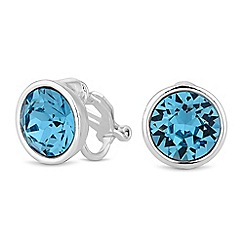 Jon Richard - Aquamarine crystal clip on earring created with Swarovski crystals