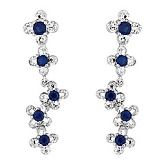 Jon Richard - Blue cubic zirconia floral drop earrings