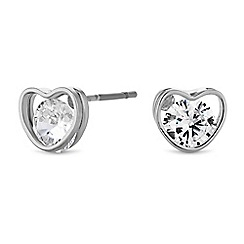 Jon Richard - Cubic zirconia heart earrings
