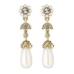 Alan Hannah Devoted - Designer floral pearl drop earrings
