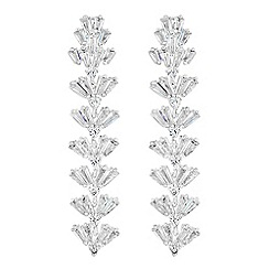 Jon Richard - Iris cubic zirconia baguette long drop earrings
