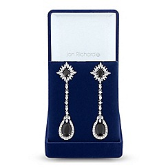 Jon Richard - Jet cubic zirconia drop earrings