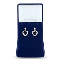 Jon Richard - Cubic zirconia heart halo earrings