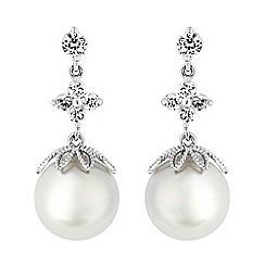Jon Richard - Pearl and crystal droplet earrings