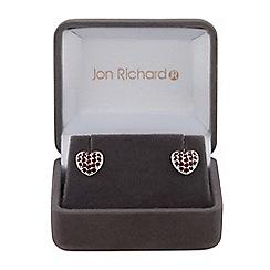 Jon Richard - Cubic zirconia pave heart earrings