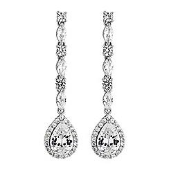 Jon Richard - Cubic zirconia linear pear drop earrings