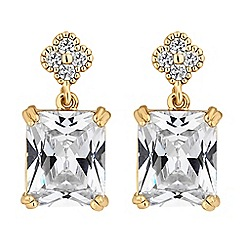 Jon Richard - Cubic zirconia square drop earrings