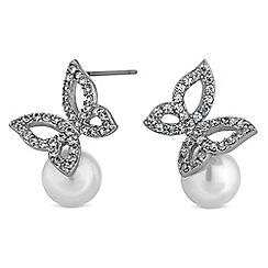 Jon Richard - Butterfly and pearl stud earrings