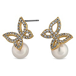 Jon Richard - Butterfly and pearl stud earrings