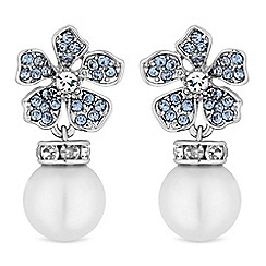 Alan Hannah Devoted - Designer flower and pearl drop earrings