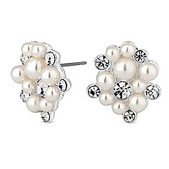 Alan Hannah Devoted - Designer pearl and crystal cluster earrings