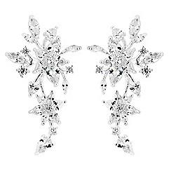 Jon Richard - Cubic zirconia floral cluster drop earrings