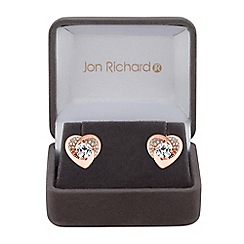Jon Richard - Cubic zirconia pave heart earrings