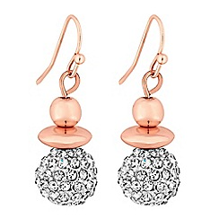 Jon Richard - Rose gold pave orb drop earrings