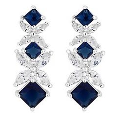 Alan Hannah Devoted - Designer blue cubic zirconia floral link drop earrings