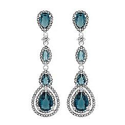 Jon Richard - Silver blue crystal halo peardrop drop earrings