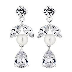 Alan Hannah Devoted - Designer silver pearl and cubic zirconia pear drop earrings