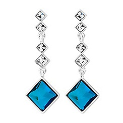 Jon Richard - Silver bermuda blue square drop earrings embellished with Swarovski crystals