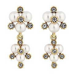 Alan Hannah Devoted - Designer gold pearl and crystal cluster drop earrings