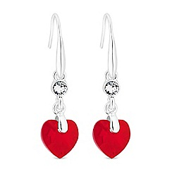 Jon Richard - Silver red heart drop earrings embellished with Swarovski crystals