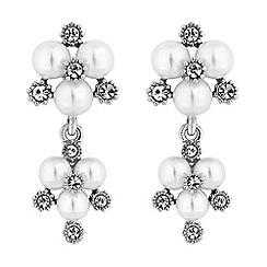 Alan Hannah Devoted - Designer silver pearl and crystal cluster drop earrings