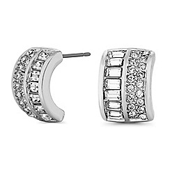 Jon Richard - Silver half hoop stud earrings embellished with Swarovski crystals