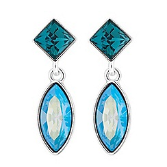 Jon Richard - Silver blue drop earrings embellished with Swarovski crystals