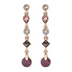 Jon Richard - Rose gold purple drop earrings embellished with Swarovski crystals