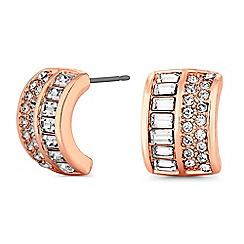 Jon Richard - Rose gold half hoop stud earrings embellished with Swarovski crystals