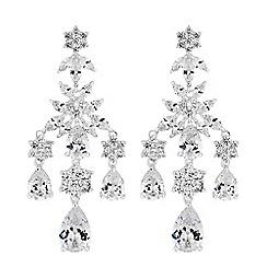 Alan Hannah Devoted - Designer silver cubic zirconia floral drop earrings