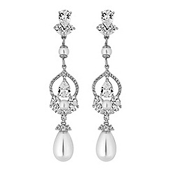 Alan Hannah Devoted - Designer silver cubic zirconia and pearl drop earrings