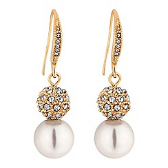 Jon Richard - Gold crystal pave orb and pearl drop earrings