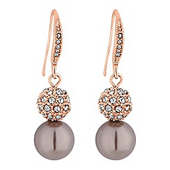 Jon Richard - Rose gold crystal pave orb and pearl drop earrings