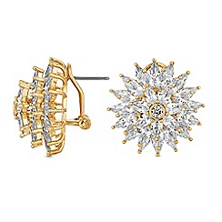 Jon Richard - Gold cubic zirconia burst statement stud earrings