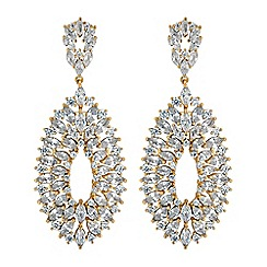 Jon Richard - Gold cubic zirconia peardrop statement earrings