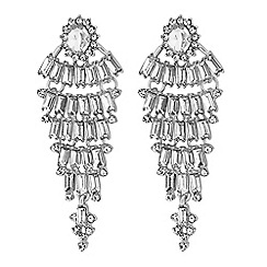Jon Richard - Silver crystal halo statement drop earrings