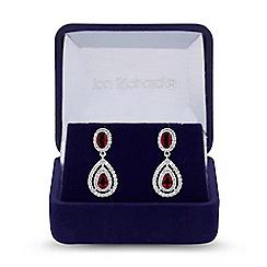 Jon Richard - Silver red cubic zirconia peardrop drop earrings