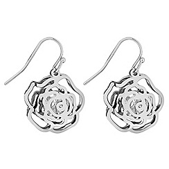 Jon Richard - Silver crystal open rose drop earrings