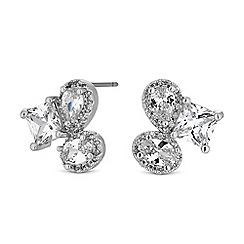 Jon Richard - Silver crystal multi shape cluster stud earrings
